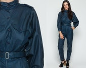 80s Jumpsuit Button Up TAPERED Pants Belted Shiny Navy Blue Grunge Pantsuit Vintage Long Sleeve Romper 70s High Waisted Retro Small Medium