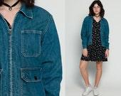 Denim Jacket CARGO Jean Jacket Blue Oversize 70s Grunge 80s Vintage Hipster Coat Pocket Oversized Biker Large