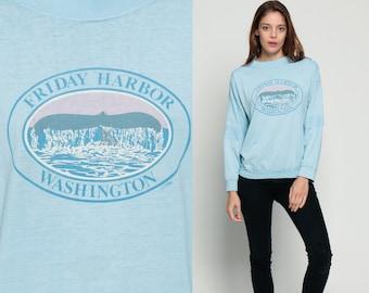 Whale Shirt Animal Tshirt Friday Harbor WASHINGTON 80s Long Sleeve Tshirt 1980s Graphic Beach Tee Vintage Paper Thin Baby Blue Medium