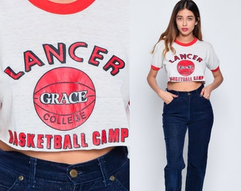 Ringer Tee 80s Basketball Shirt GRACE COLLEGE Crop Sports Tshirt Burnout Paper Thin Graphic Vintage Retro T Shirt 1980s Red Small Medium xs