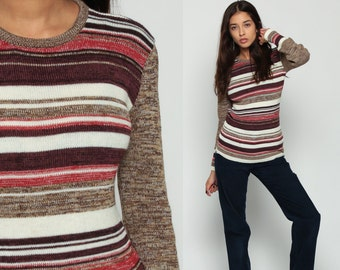 Bohemian Sweater Space Dye 70s Boho Knit STRIPED Print Bohemian Slouchy 1970s Pullover Tight Vintage Retro Jumper Red Small Medium Large