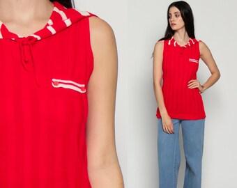 Sleeveless Sweater Top SAILOR COLLAR Striped Tank Top 70s Red White Knit Top Retro Mod 80s Long Tunic Shirt Vintage Nautical Medium