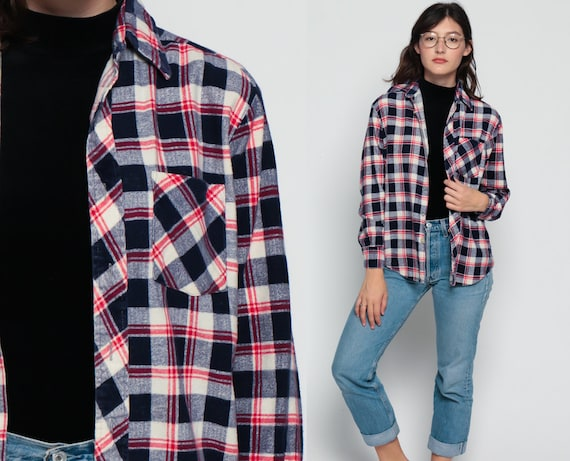 Flannel Shirt Button Up 70s Navy Blue Plaid Red White