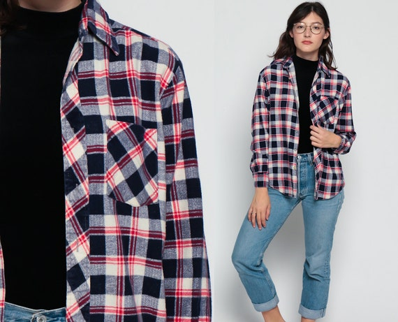 Flannel shirt button up 70s navy blue plaid red white for White and black flannel shirt womens