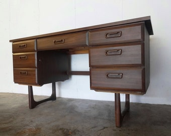 Mid Century WALNUT DESK with SCULPTED Legs