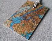 New York City original vintage map luggage tag