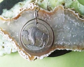 Vintage Indian Head Buffalo Nickel Cut Coin Jewelry Pendant
