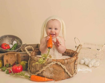 Knit Bunny Set, Sitter Photography Prop, Sitter Bunny Set, Bunny Bonnet, Sitter Overalls, Easter Photography Prop, Mohair Bonnet and Overall