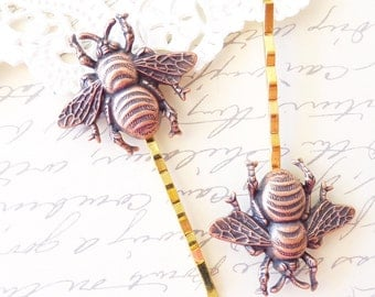 Copper Bumble Bee Hair Pins - Bumble Bee Bobby Pins - Bumblebee - Woodland - Nature Wedding Hair Accessory - Insect - Fly - Moth - Bee