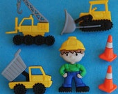 WORK ZONE - Builder Tractor Digger Crane Man Novelty Dress It Up Craft Buttons