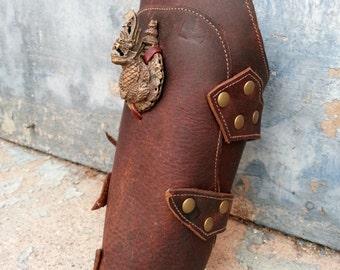 Primitive Oiled Brown Leather Peaked Bracer with Vintage Metal Dragon