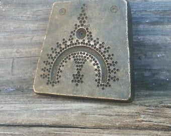 Vintage Bronze Large Detailed Tribal Bindhi Design Jeweler Jewelry Pendant Stamp Die Mold