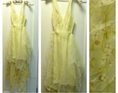 "Yellow Slip Dress Wedding Medium 36"" Bust Prom, Bridesmaid, Bridal Embroidered Lace Dogwood Fairytale Fairy Boho by Savoy Faire"