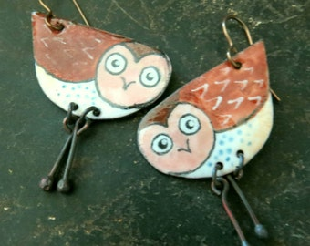 Brown Owl rustic quirky hand painted enamel dangle earrings in Autumn creams, rust and brown by Vintajia Adornments