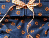 In-Stock Dog Diapers Britches or Panties Small Orange Paws on Light Weight Denim Various Sizes