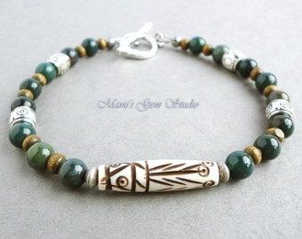 Men's Tribal Bracelet   Carved Bone, Bloodstone   Beaded Bracelet for Men, Guys, Dad, Him   Mens Casual Jewelry