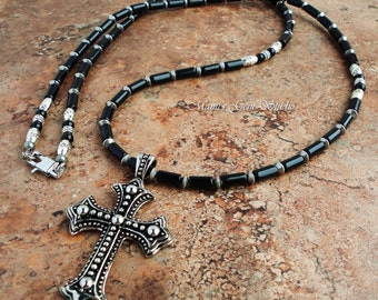 Long Necklace 32in, Mens Cross Necklace, Black Onyx Beaded Jewelry, Guys, Rocker, Biker, Unisex, Stainless Steel Cross