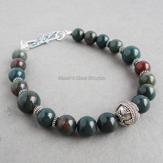 Mens Bloodstone Bracelet with Bali Sterling by mamisgemstudio   570 x 570 jpeg 40kB