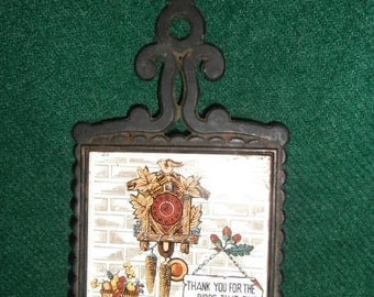Trivet Vintage Kitchen Prayer Ceramic & Cast Iron Trivet Japan Wall/Counter