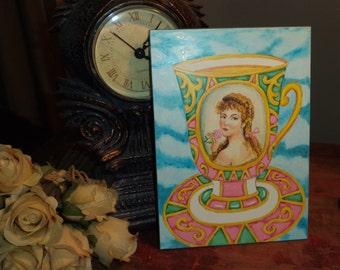 Demitasse Tea Cup Woman Portrait Small Original Painting Unframed 5 x 7