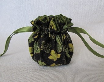 Traveling Jewelry Bag - Mini Size - Tote - Fabric Jewelry Pouch - FOREST GLEN