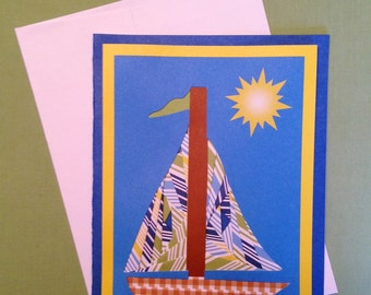 """Sailboat, Note card, 5"""" x 7"""", hand crafted, Iris paper folding technique, inside blank"""