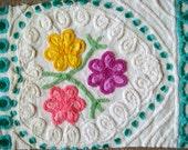 Aqua Floral Heart Plush Vintage Cotton Chenille Bedspread Fabric 23 x 16 Inches
