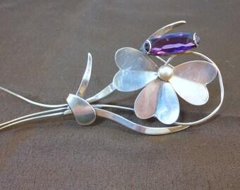 40s Huge  Sterling flower brooche purple clear glass vintage