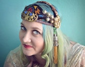 Sale! Art deco beaded Tribal Fusion Bellydance headdress with antique jet and steel cut beads
