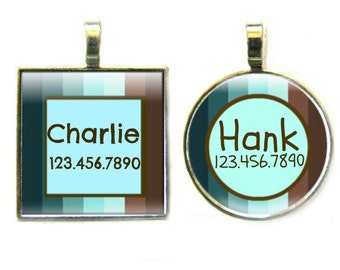 Blue and Brown Stripes Silver Custom Pet ID Tag