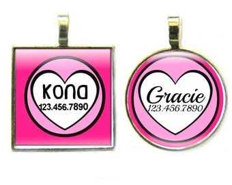 Pink Hearts Silver Custom Personalized Dog ID Pet Tag Custom Pet Tag You Choose Tag Size & Colors