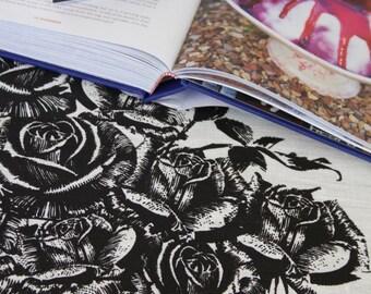 Rose Garden Black on Off White Linen Tea Towel