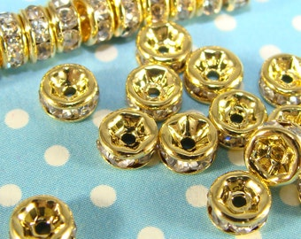 30 TINY 4mm GOLD Rhinestone Spacer Disc Beads with Crystal (T4Gld) Pave Rhinestone Gold Spacer Bead Jewelry Making Supplies Bulk Beads