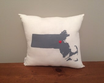 Massachusetts Hand Painted State Pillow with Customizable Heart