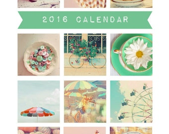 SALE 60% OFF - 2016 Calendar, Photography Calendar, Desk Calendar, Photo Calendar, 5x7, Retro, Fine Art Prints, AliceBGardens, Vintage Style