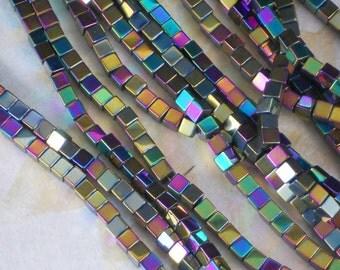 "4mm Cube Beads Hematite Shiny Rainbow 15"" Strand Multi Metallic Colored Stone (5702)"