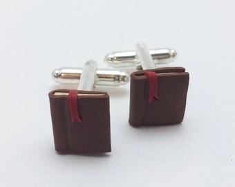 Book Cufflinks, Polymer Clay, Reader Gift