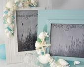 "Beach Decor Beadboard Shell Picture Frame - Nautical Sea Glass Bead Board Frame, 5x7"" White or Aqua"