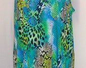 Plus Size Tank Top, Coco and Juan Lagenlook, Turquoise Leopard Print Knit Angled Tank Top Size 1 Fits 1X,2X Bust  to 50 inches