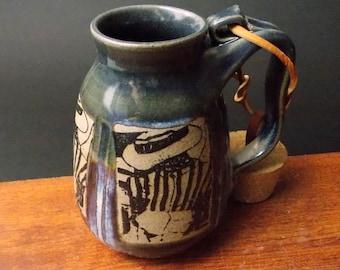Stoneware Travel Mug With Cork ~ Caribbean Sailor With Striped Shirt Design ~