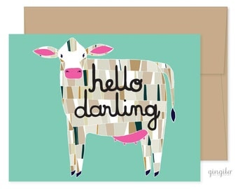 Hello Darling Cow Card, Just For Fun Card, Friendly Cow Card, Cow Greeting Card, Barnyard Cow Card, Just Because Card, Hello Card