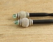 Hair Stick(s) with Black Lacquered Wood, Aqua Glass, Silver Mesh Beads and Pewter Beads HS-26