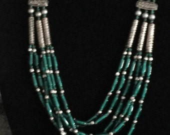 Vintage Green Glass Bead Layered Bib Necklace