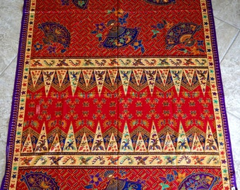 Vintage Batik Tablecloth Jewel Tones Abstract Cotton Popller Bali Red Purple Gold Blue