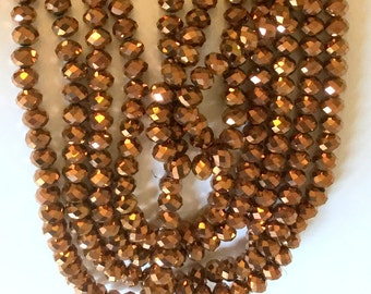 Copper Color Crystal Rondelle Beads 8x5mm