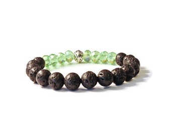 Aromatherapy Stretch Bracelet, Natural Lava Stone and Sparkly Green Beads