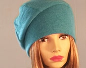 Cory, 100% pure cashmere hat,  turq slouchy beanie