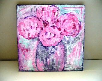 Pink Peony Painting Shabby Chic Art Purple Cottage Decor