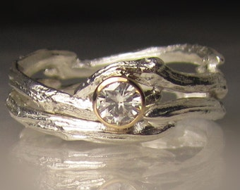 Moissanite Twig Ring - Moissanite Engagement Ring, Sterling Silver and 14k Yellow Gold