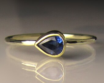 Slim Gold Blue Sapphire Ring, 14k and 18k Gold Opal Ring, Petite Blue Sapphire Engagement Ring